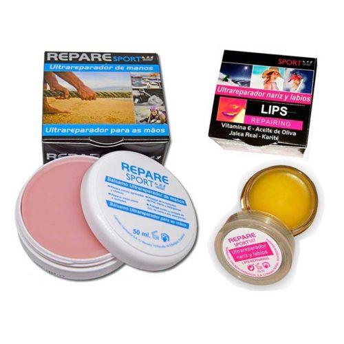 Repare Sport crema reparadora manos y bálsamo reparador nariz y labios